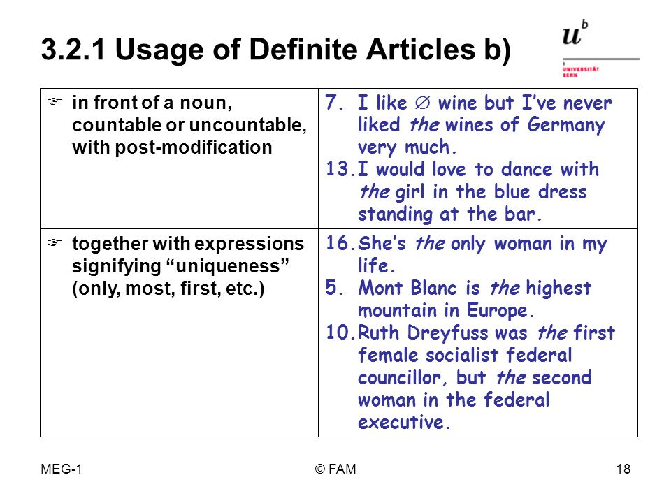 MEG-1© FAM17 3.2.1 Usage of Definite Articles a) 2.I went to the cinema with my friend.