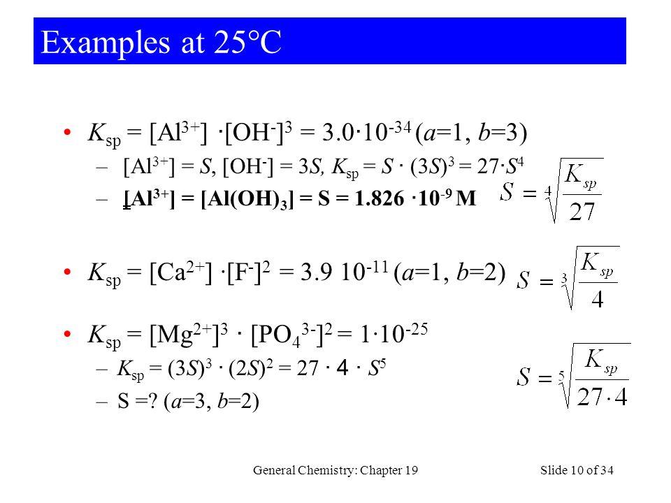Examples at 25°C K sp = [Al 3+ ] · [OH - ] 3 = 3.0 · 10 -34 (a=1, b=3) – [Al 3+ ] = S, [OH - ] = 3S, K sp = S · (3S) 3 = 27 · S 4 – [Al 3+ ] = [Al(OH)