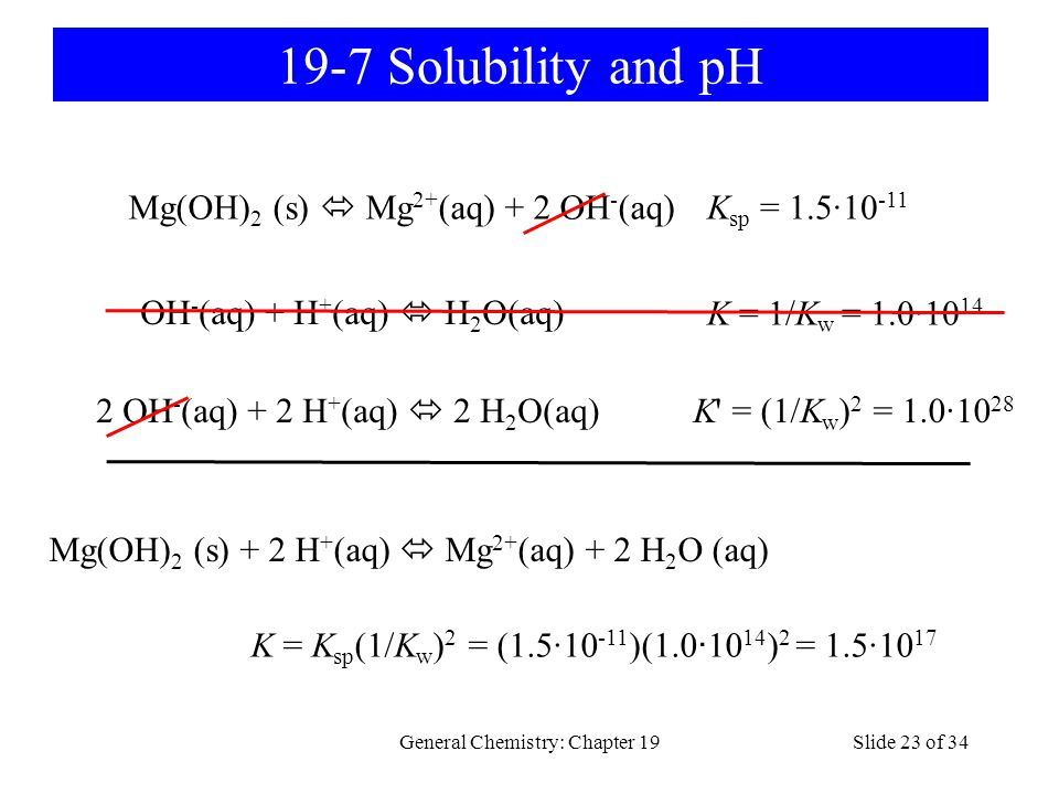 General Chemistry: Chapter 19Slide 23 of 34 19-7 Solubility and pH Mg(OH) 2 (s) Mg 2+ (aq) + 2 OH - (aq) K sp = 1.5·10 -11 OH - (aq) + H + (aq) H 2 O(aq) K = 1/K w = 1.0·10 14 2 OH - (aq) + 2 H + (aq) 2 H 2 O(aq) K = (1/K w ) 2 = 1.0·10 28 Mg(OH) 2 (s) + 2 H + (aq) Mg 2+ (aq) + 2 H 2 O (aq) K = K sp (1/K w ) 2 = (1.5·10 -11 )(1.0 · 10 14 ) 2 = 1.5·10 17