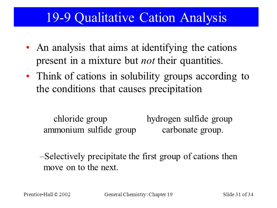 Prentice-Hall © 2002General Chemistry: Chapter 19Slide 31 of 34 19-9 Qualitative Cation Analysis An analysis that aims at identifying the cations pres
