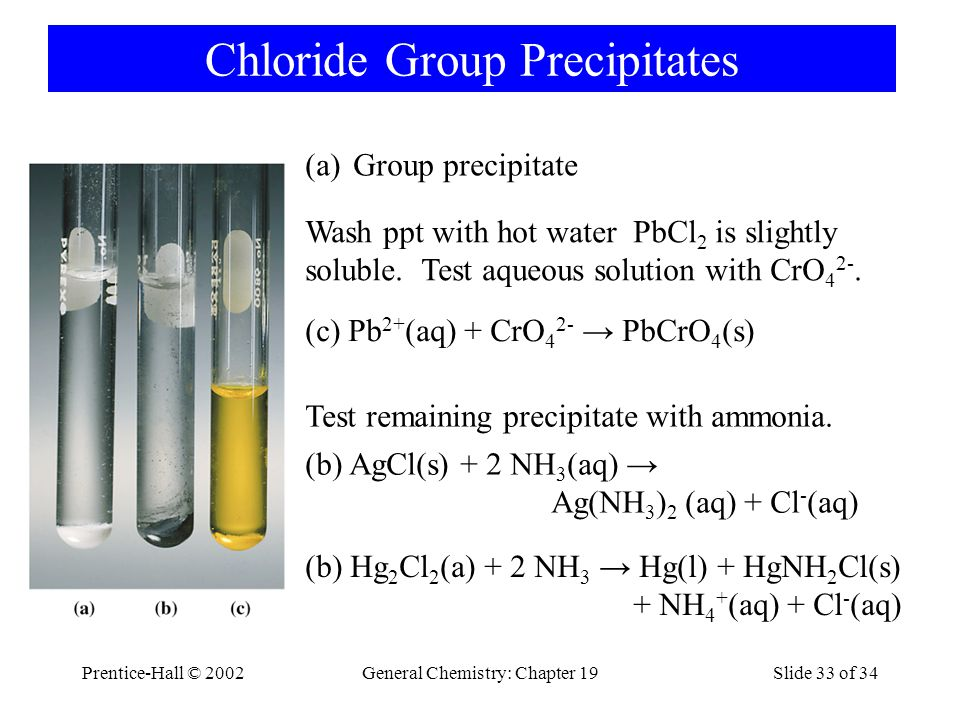 Prentice-Hall © 2002General Chemistry: Chapter 19Slide 33 of 34 Chloride Group Precipitates (a)Group precipitate Wash ppt with hot water PbCl 2 is slightly soluble.