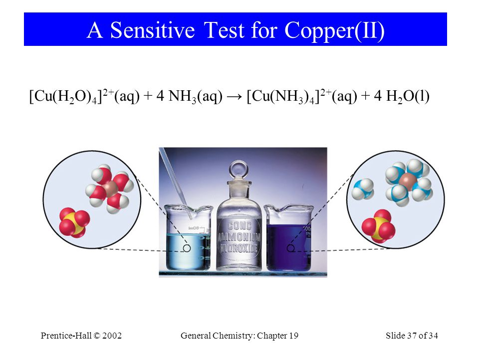 Prentice-Hall © 2002General Chemistry: Chapter 19Slide 37 of 34 A Sensitive Test for Copper(II) [Cu(H 2 O) 4 ] 2+ (aq) + 4 NH 3 (aq) [Cu(NH 3 ) 4 ] 2+ (aq) + 4 H 2 O(l)
