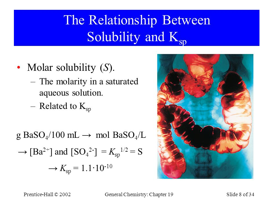 Prentice-Hall © 2002General Chemistry: Chapter 19Slide 8 of 34 The Relationship Between Solubility and K sp Molar solubility (S).