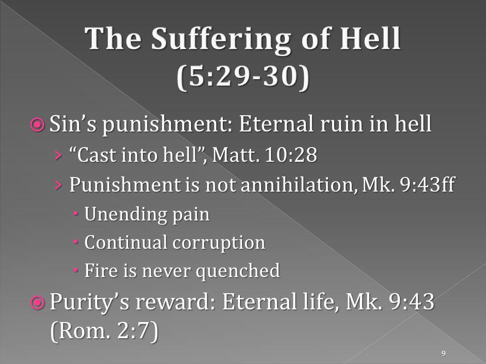 Sins punishment: Eternal ruin in hell Sins punishment: Eternal ruin in hell Cast into hell, Matt.