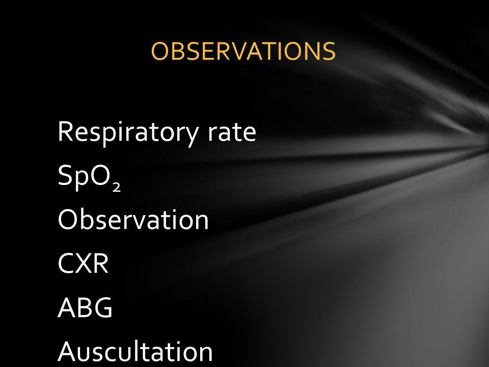 Respiratory rate SpO 2 Observation CXR ABG Auscultation OBSERVATIONS