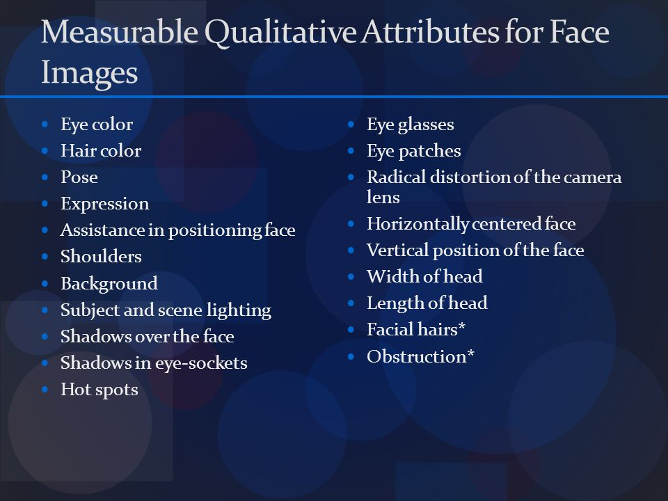 Measurable Qualitative Attributes for Face Images Eye color Hair color Pose Expression Assistance in positioning face Shoulders Background Subject and scene lighting Shadows over the face Shadows in eye-sockets Hot spots Eye glasses Eye patches Radical distortion of the camera lens Horizontally centered face Vertical position of the face Width of head Length of head Facial hairs* Obstruction*