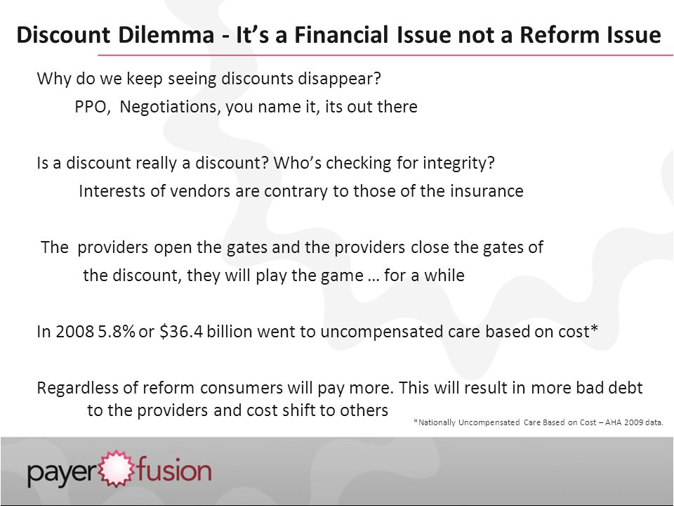 Discount Dilemma - Its a Financial Issue not a Reform Issue Why do we keep seeing discounts disappear.