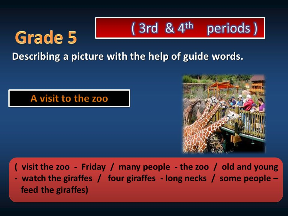 Describing a picture with the help of guide words. ( visit the zoo - Friday / many people - the zoo / old and young - watch the giraffes / four giraff