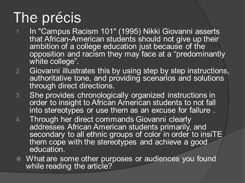 The précis 1. In