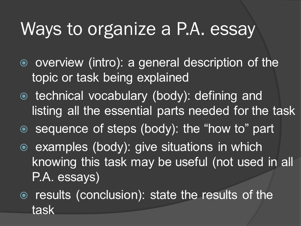 Ways to organize a P.A.