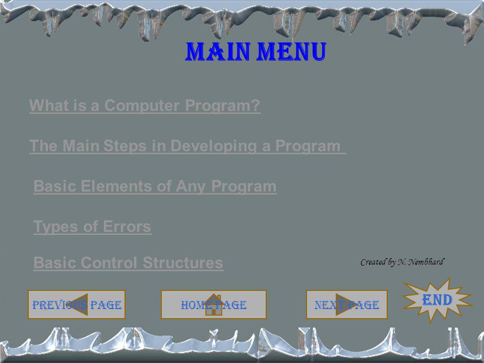 Solution – Example 1 Pseudocode Start Print Enter FARENHEIT value Read farenht celsius = (fareneht – 32) * 5/9 Print farenht, celsius stop Start Print Enter FARENHEIT value Program Flowchart Read farenht Print farenht, celsius Stop celsius = fareneht – 32) * 5/9 Home PageNext Page End Previous Page