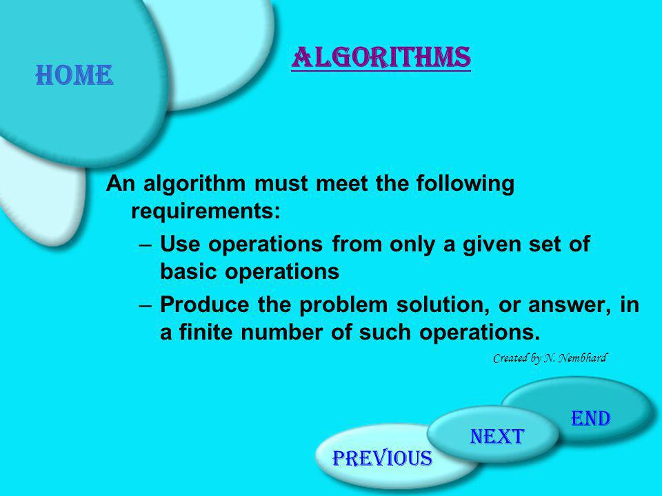 An algorithm must meet the following requirements: –Use operations from only a given set of basic operations –Produce the problem solution, or answer, in a finite number of such operations.