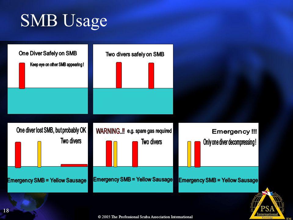 18 © 2005 The Professional Scuba Association International SMB Usage