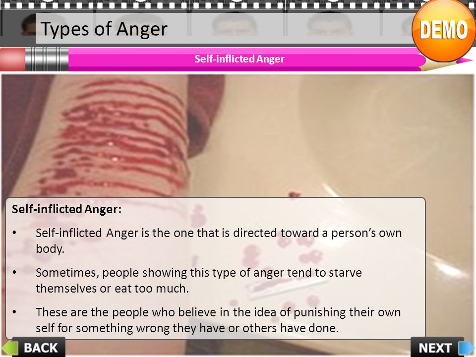 Types of Anger Self-inflicted Anger Self-inflicted Anger: Self-inflicted Anger is the one that is directed toward a persons own body. Sometimes, peopl