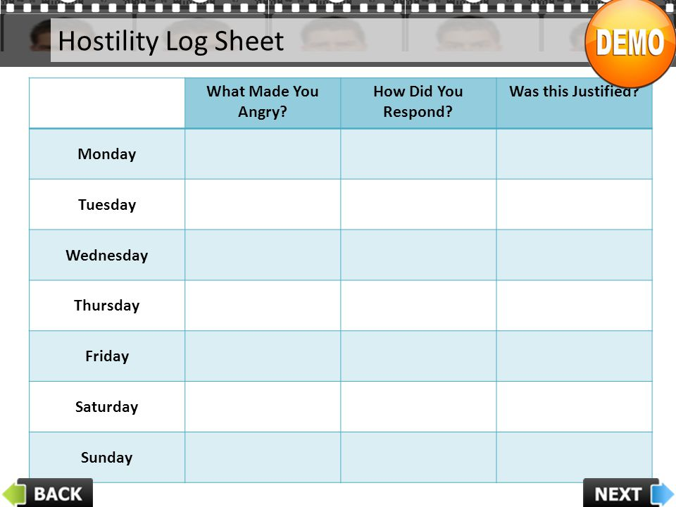 Hostility Log Sheet What Made You Angry? How Did You Respond? Was this Justified? Monday Tuesday Wednesday Thursday Friday Saturday Sunday