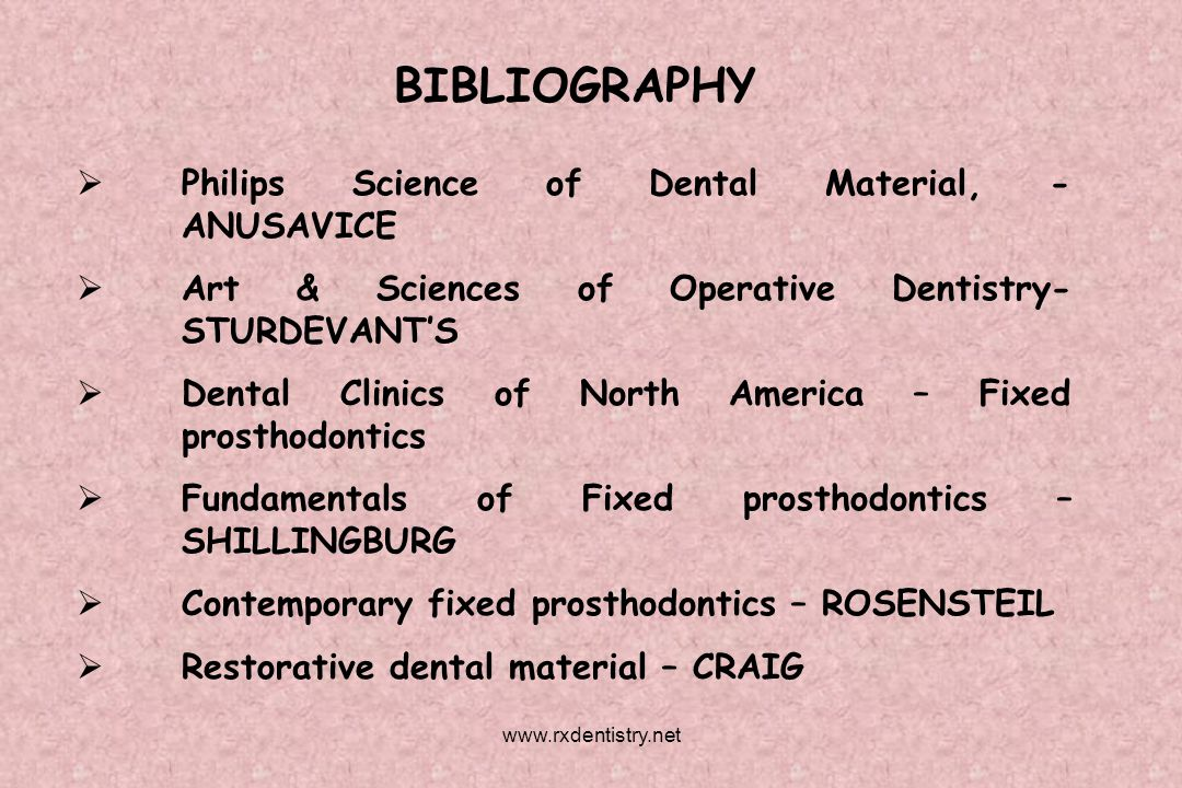 BIBLIOGRAPHY Philips Science of Dental Material, - ANUSAVICE Art & Sciences of Operative Dentistry- STURDEVANTS Dental Clinics of North America – Fixe
