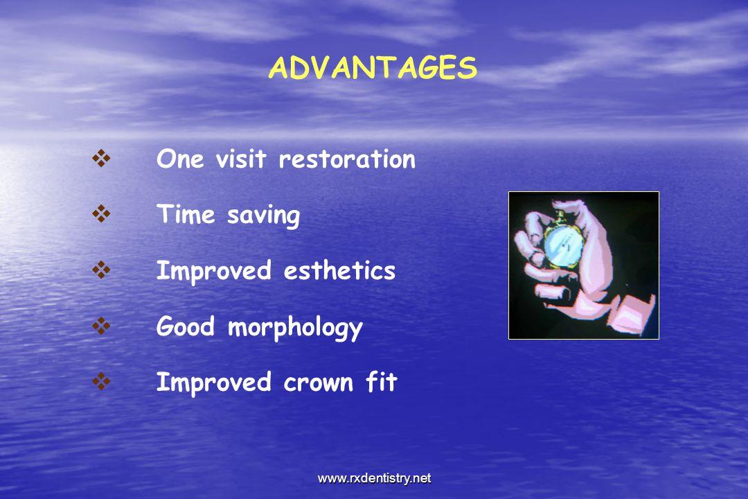 ADVANTAGES One visit restoration Time saving Improved esthetics Good morphology Improved crown fit www.rxdentistry.net