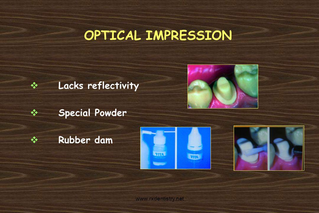 OPTICAL IMPRESSION Lacks reflectivity Special Powder Rubber dam www.rxdentistry.net
