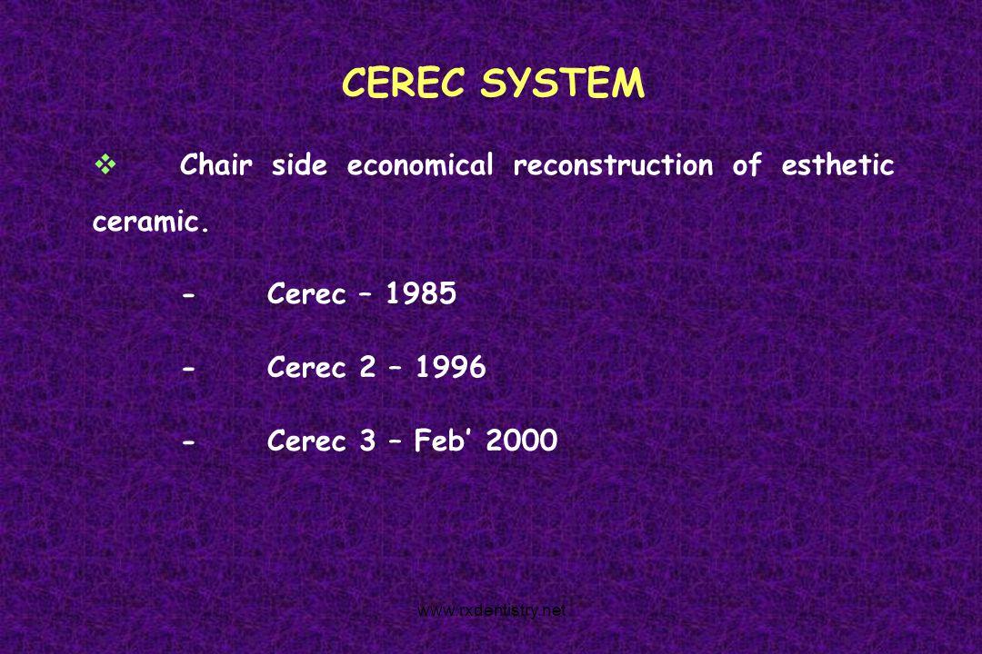 CEREC SYSTEM Chair side economical reconstruction of esthetic ceramic. -Cerec – 1985 -Cerec 2 – 1996 -Cerec 3 – Feb 2000 www.rxdentistry.net
