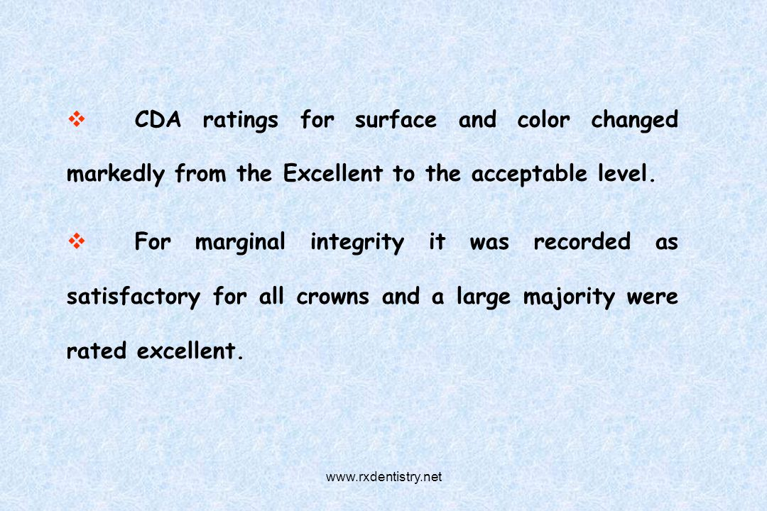 CDA ratings for surface and color changed markedly from the Excellent to the acceptable level. For marginal integrity it was recorded as satisfactory