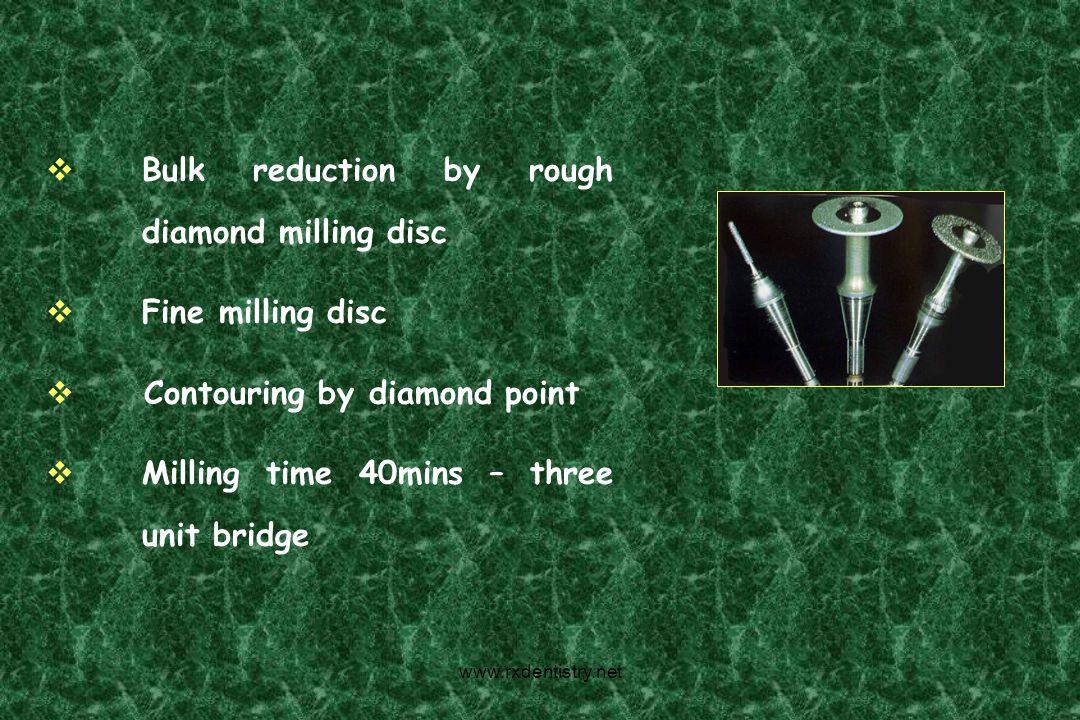 Bulk reduction by rough diamond milling disc Fine milling disc Contouring by diamond point Milling time 40mins – three unit bridge www.rxdentistry.net