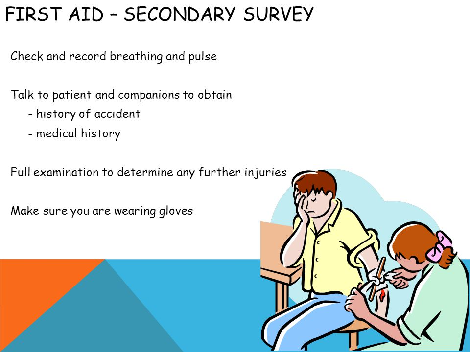 FIRST AID – LOOK AND FEEL FOR Bleeding Unusual colour Tenderness and bruising Lack of symmetry Loss of sensation Try to treat patient in the position in which they are found