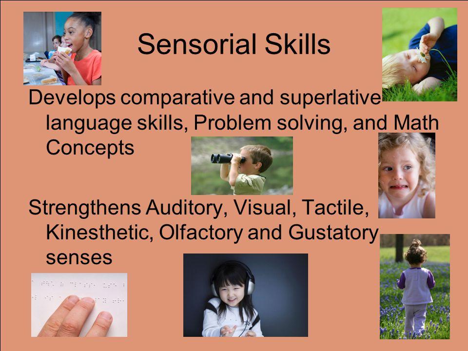 Sensorial Skills Develops comparative and superlative language skills, Problem solving, and Math Concepts Strengthens Auditory, Visual, Tactile, Kinesthetic, Olfactory and Gustatory senses