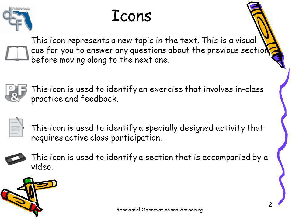 Behavioral Observation and Screening 2 Icons This icon represents a new topic in the text. This is a visual cue for you to answer any questions about