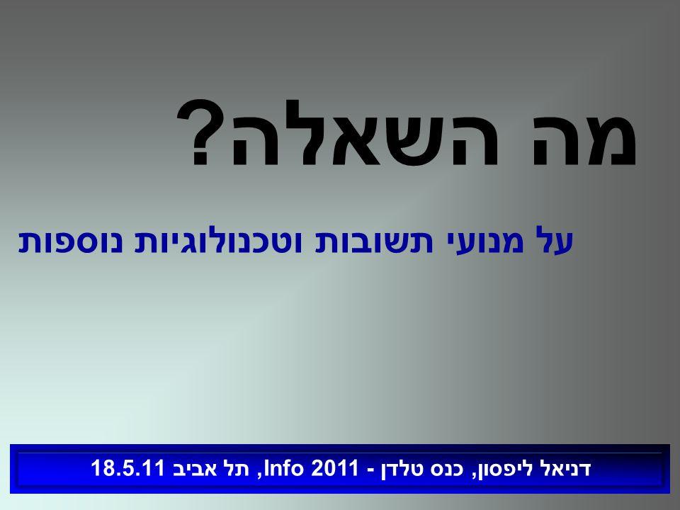 על מנועי תשובות וטכנולוגיות נוספות דניאל ליפסון, כנס טלדן - Info 2011, תל אביב 18.5.11 מה השאלה