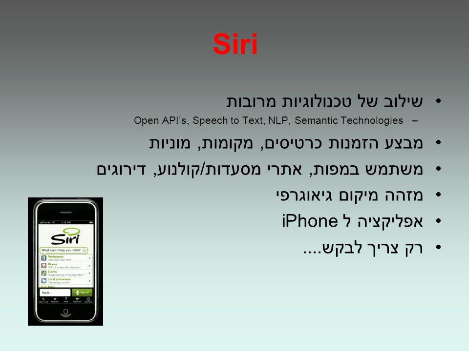 Siri שילוב של טכנולוגיות מרובות –Open APIs, Speech to Text, NLP, Semantic Technologies מבצע הזמנות כרטיסים, מקומות, מוניות משתמש במפות, אתרי מסעדות/קולנוע, דירוגים מזהה מיקום גיאוגרפי אפליקציה ל iPhone רק צריך לבקש....