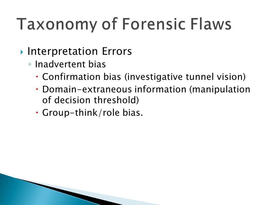 Interpretation Errors Inadvertent bias Confirmation bias (investigative tunnel vision) Domain-extraneous information (manipulation of decision threshold) Group-think/role bias.