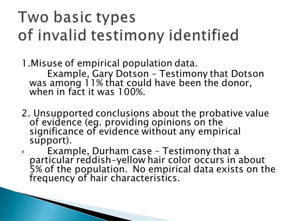 1.Misuse of empirical population data.