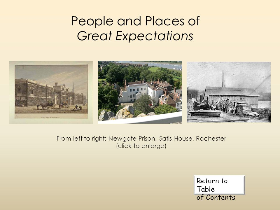 People and Places of Great Expectations Click to advance slide River Thames Temple District Barnards Inn