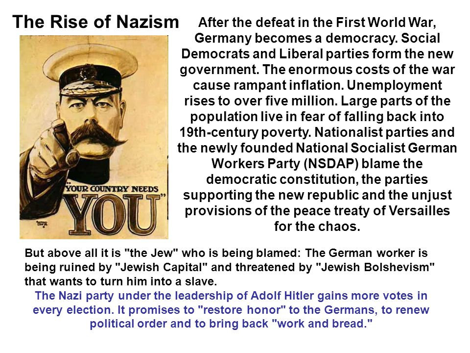 The Rise of Nazism After the defeat in the First World War, Germany becomes a democracy.