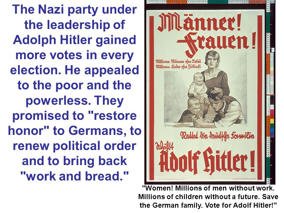 The Nazi party under the leadership of Adolph Hitler gained more votes in every election.