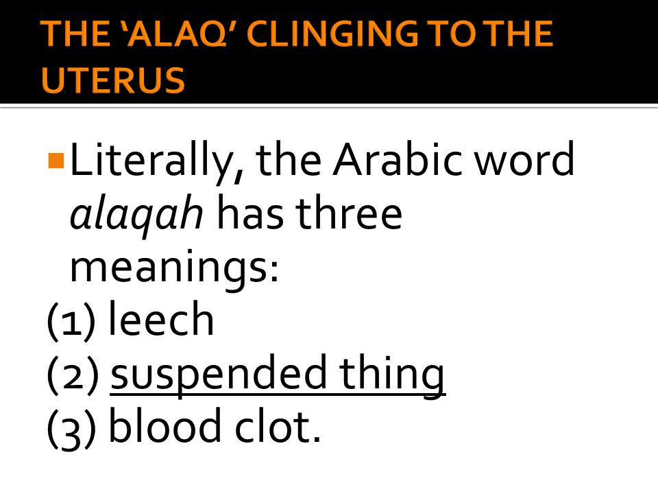 Literally, the Arabic word alaqah has three meanings: (1) leech (2) suspended thing (3) blood clot.