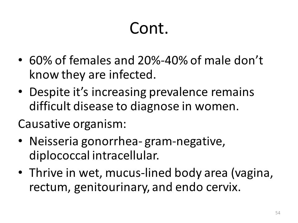 Cont. 60% of females and 20%-40% of male dont know they are infected. Despite its increasing prevalence remains difficult disease to diagnose in women