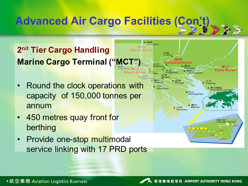 2 nd Tier Cargo Handling Marine Cargo Terminal (MCT) Round the clock operations with capacity of 150,000 tonnes per annum 450 metres quay front for be