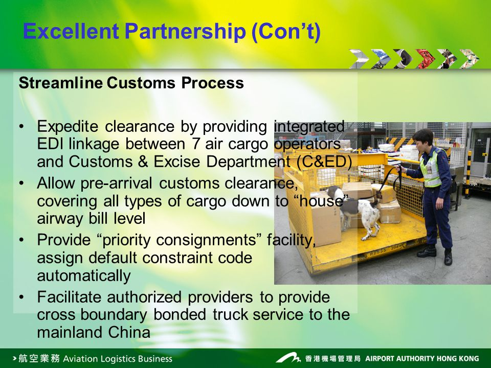 Streamline Customs Process Expedite clearance by providing integrated EDI linkage between 7 air cargo operators and Customs & Excise Department (C&ED) Allow pre-arrival customs clearance, covering all types of cargo down to house airway bill level Provide priority consignments facility, assign default constraint code automatically Facilitate authorized providers to provide cross boundary bonded truck service to the mainland China Excellent Partnership (Cont)
