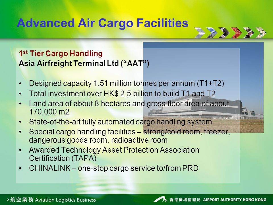 Advanced Air Cargo Facilities 1 st Tier Cargo Handling Asia Airfreight Terminal Ltd (AAT) Designed capacity 1.51 million tonnes per annum (T1+T2) Tota