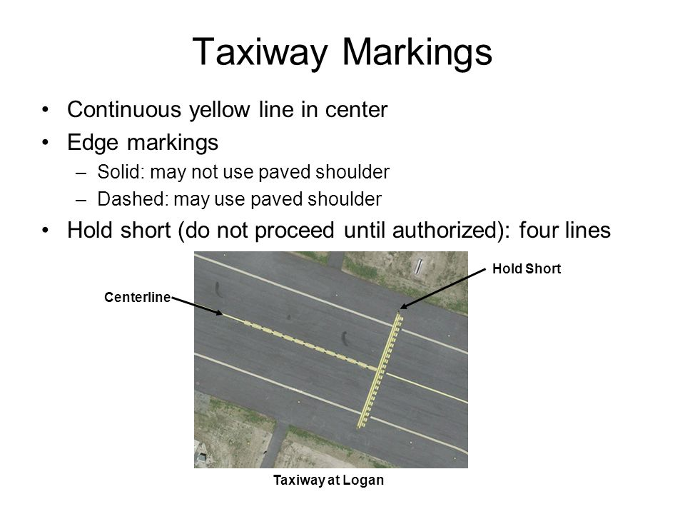 Taxiway Markings Continuous yellow line in center Edge markings –Solid: may not use paved shoulder –Dashed: may use paved shoulder Hold short (do not
