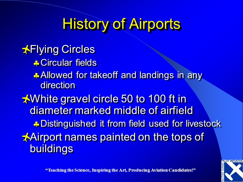 Teaching the Science, Inspiring the Art, Producing Aviation Candidates! History of Airports Flying Circles Circular fields Allowed for takeoff and lan