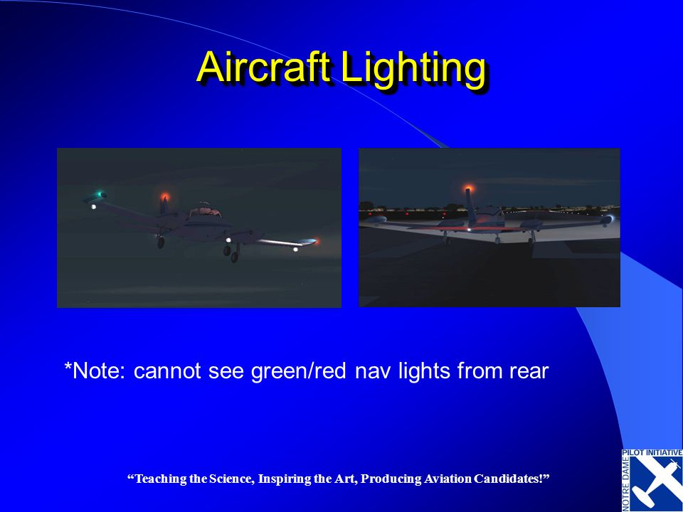 Teaching the Science, Inspiring the Art, Producing Aviation Candidates! Aircraft Lighting *Note: cannot see green/red nav lights from rear
