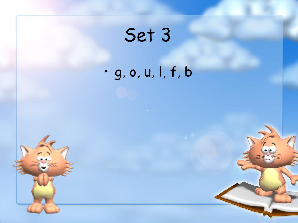 Set 3 g, o, u, l, f, b