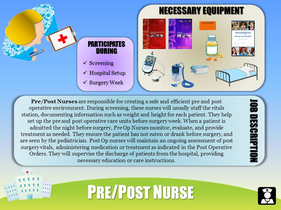 NECESSARY EQUIPMENT Pre/Post Nurses are responsible for creating a safe and efficient pre and post operative environment.
