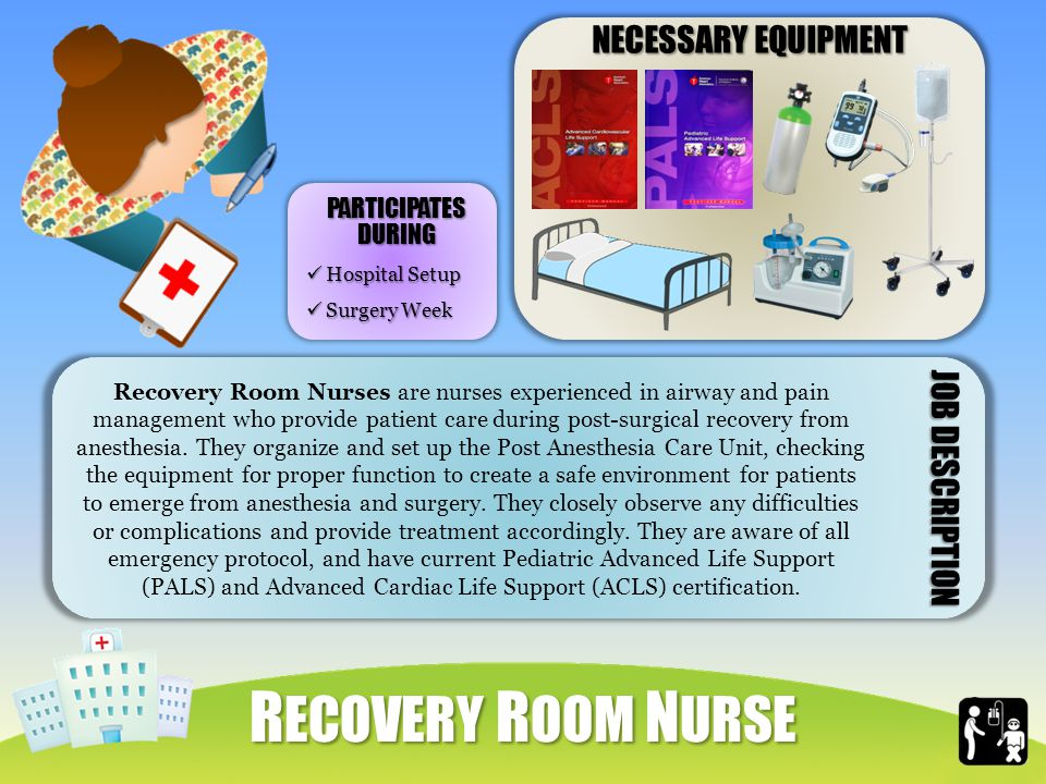 NECESSARY EQUIPMENT Recovery Room Nurses are nurses experienced in airway and pain management who provide patient care during post-surgical recovery from anesthesia.