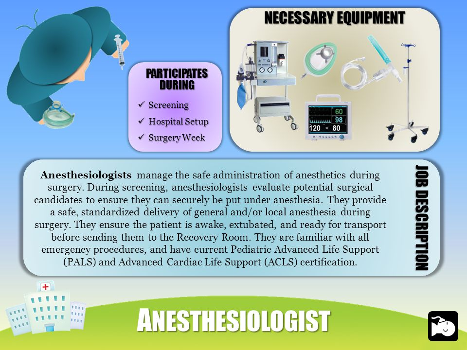 NECESSARY EQUIPMENT A NESTHESIOLOGIST Screening Screening Hospital Setup Hospital Setup Surgery Week Surgery Week PARTICIPATESDURING Anesthesiologists manage the safe administration of anesthetics during surgery.