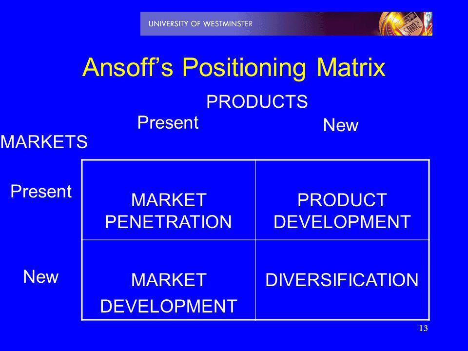13 Ansoffs Positioning Matrix MARKET PENETRATION PRODUCT DEVELOPMENT MARKET DEVELOPMENT DIVERSIFICATION PRODUCTS Present New MARKETS Present New