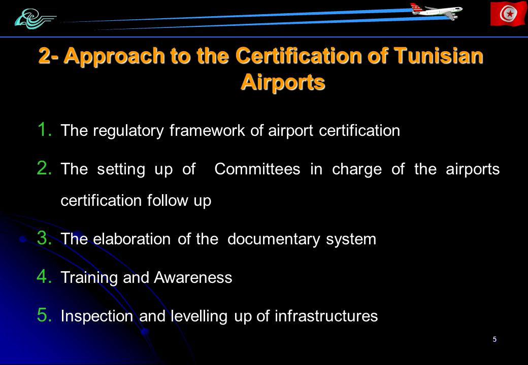 16 1st part: General provisions The conditions applied the airport, the operator obligations and informations on the airport administration Except for the indented section (d) of this part related to the existing procedures of AIS publication, the other required provisions refer to the national regulation being currently developed.