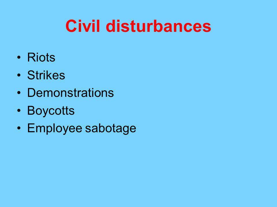 Civil disturbances Riots Strikes Demonstrations Boycotts Employee sabotage